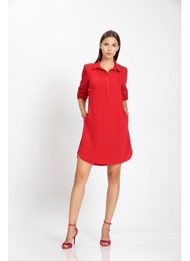 Vitrin Önden Düğmeli Kolları Apoletli Çan Elbise Kırmızı